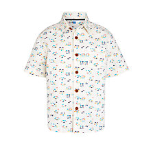 Buy John Lewis Boy Short Sleeve Mini Square Shirt, Cream/Multi Online at johnlewis.com