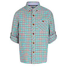 Buy John Lewis Boy Utility Oxford Check Shirt, Green/Coral Online at johnlewis.com