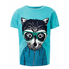 Buy John Lewis Boy Raccoon T-Shirt, Blue Online at johnlewis.com