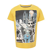Buy John Lewis Boy Shinjuko Robots T-Shirt, Yellow Online at johnlewis.com
