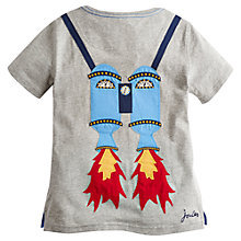 Buy Little Joule Boys' Archie Rocket T-Shirt, Grey Online at johnlewis.com