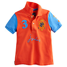 Buy Little Joule Boys' Harry Colour Block Polo Shirt, Orange/Blue Online at johnlewis.com