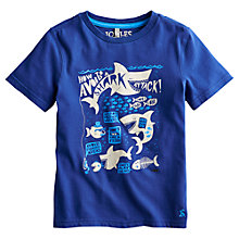Buy Little Joule Boys' Ben Sharks T-Shirt, Blue Online at johnlewis.com