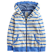 Buy Little Joule Boys' Stripe Zip Through Hoodie, Cream/Blue Online at johnlewis.com