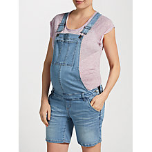 Buy Mamalicious Alice Dungaree Maternity Shorts, Denim Blue Online at johnlewis.com