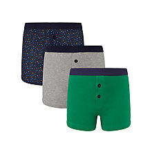 Buy John Lewis Boy Spot and Plain Boxers, Pack of 3, Green/Multi Online at johnlewis.com