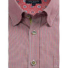Buy Ted Baker Soft One Micro Check Shirt, Red Online at johnlewis.com