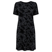 Buy Warehouse Flocked Marl Tunic Dress, Dark Grey Online at johnlewis.com