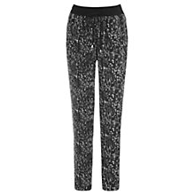 Buy Warehouse Texture Print Trousers, Black Online at johnlewis.com