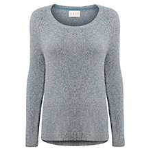 Buy East Moss Stitch Slouchy Jumper, Blue Online at johnlewis.com