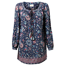 Buy East Audrey Floral Tunic Top, Indigo Online at johnlewis.com