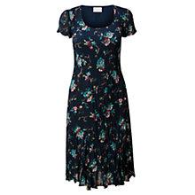 Buy East Eliza Pleat Dress, Indigo Online at johnlewis.com