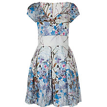 Buy Almari V Neck Floral Pleat Dress, Multi Online at johnlewis.com