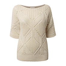 Buy East Cable Stitch Jumper, Pearl Online at johnlewis.com
