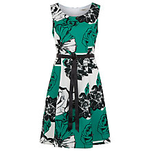 Buy Precis Petite Floral Stripe Prom Dress, Green Online at johnlewis.com