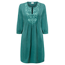 Buy East Embroidered Cotton Cord Dress, Teal Online at johnlewis.com