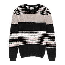 Buy Reiss Rigour Cross Stitch Stripe Jumper, Black/White Online at johnlewis.com