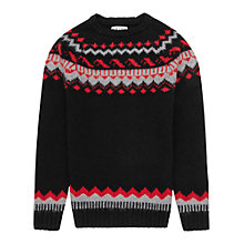 Buy Reiss Ferris Pattern Wool Rich Jumper, Black/Red Online at johnlewis.com