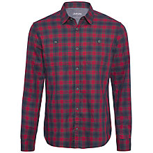 Buy Jaeger Overcheck Print Shirt, Denim/Red Online at johnlewis.com