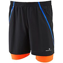 Buy Ronhill Advance Twin Shorts, Black/Orange Online at johnlewis.com