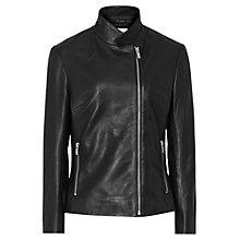 Buy Reiss Penny Leather Biker Jacket, Black Online at johnlewis.com