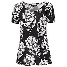 Buy French Connection Shadow Bloom Top, Black/White Online at johnlewis.com
