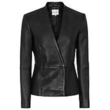 Buy Reiss Amanda Leather Blazer, Black Online at johnlewis.com
