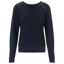 Buy Collection WEEKEND by John Lewis Broderie Front Sweatshirt, Navy Online at johnlewis.com