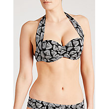 Buy John Lewis Deco Palm Cup Halter Bikini Top, Black Online at johnlewis.com