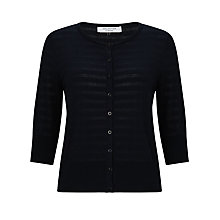 Buy COLLECTION by John Lewis Self Stripe Cotton Cardigan, Navy Online at johnlewis.com