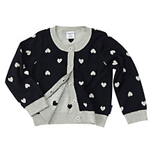 Buy Polarn O. Pyret Baby Heart Print Cardigan, Black Online at johnlewis.com