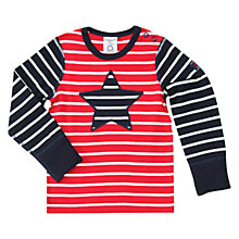 Buy Polarn O. Pyret Baby Star Long Sleeve Top, Navy Online at johnlewis.com