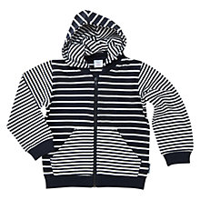Buy Polarn O. Pyret Children's Stripe Hoodie, Navy Online at johnlewis.com
