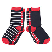 Buy Polarn O. Pyret Children's Stripe Socks, Pack of 3, Navy/Red Online at johnlewis.com