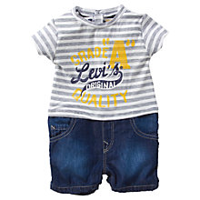 Buy Levi's Stripe T-Shirt & Denim Shorts, Grey/Blue Online at johnlewis.com