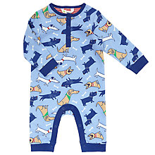 Buy John Lewis Baby's Dog Print Sleepsuit, Blue/Multi Online at johnlewis.com