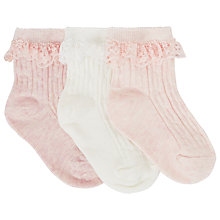 Buy John Lewis Cable Knit Socks, Pack of 3, White/Pink Online at johnlewis.com