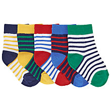 Buy John Lewis Stripe Socks, Pack of 5, White/Multi Online at johnlewis.com