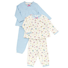 Buy John Lewis Baby's Floral And Stripe Print Pyjamas, Pack of 2, Blue/Multi Online at johnlewis.com
