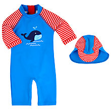 Buy John Lewis Whale Applique Sunproof Swimsuit & Hat, Blue/Red Online at johnlewis.com