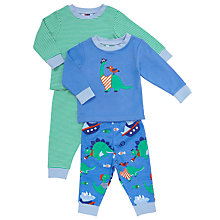 Buy John Lewis Baby's Dinosaur Print Pyjamas, Pack of 2, Blue/Green Online at johnlewis.com
