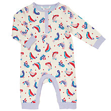 Buy John Lewis Baby's Bird Print Onesie, Cream Online at johnlewis.com
