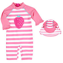 Buy John Lewis Strawberry Applique Sunproof Rash Vest Swimsuit & Hat, Pink/White Online at johnlewis.com