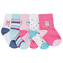 Buy John Lewis Owl Socks, Pack of 5, Multi Online at johnlewis.com