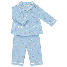 Buy John Lewis Baby Floral Woven Pyjamas, Blue Online at johnlewis.com