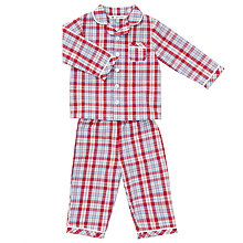 Buy John Lewis Baby Check Print Pyjamas, Red Multi Online at johnlewis.com