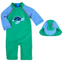Buy John Lewis Turtle Applique Sunproof Swimsuit & Hat, Green/Blue Online at johnlewis.com