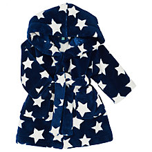 Buy John Lewis Baby Star Print Robe, Blue Online at johnlewis.com