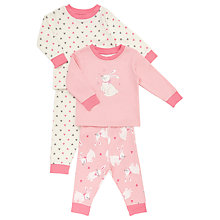 Buy John Lewis Baby's Bunny Print Pyjamas, Pack of 2, Pink Online at johnlewis.com