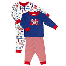 Buy John Lewis Baby's London Bus Print Pyjamas, Pack of 2, Blue/Red Online at johnlewis.com